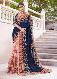 Designer Patches For Sarees Masterly Art Silk Patch Border Blue And Pink Designer Half N