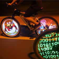 diy bicycle light programmable bicycle spoke bike wheel led light double sided screen display image for night cycling b