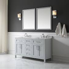 ove decors tahoe 60 in dove gray double sink bathroom vanity with white natural marble top and mirror