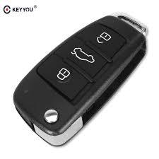 KEYYOU <b>Folding</b> Flip <b>3 Button Remote</b> Car Key Shell Cover Fob For ...
