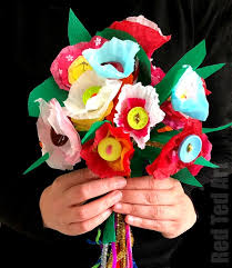 Paper Flower Tissue Paper Tissue Paper Flower Bouquet Red Ted Art