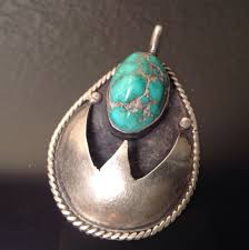 large native american sterling turquoise nugget teardrop shadowbox