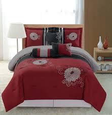 bed comforters sets merritt comforter  pc embroidery bedding red black grey comforter set shamz red queen