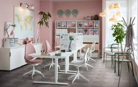 Ikea office inspiration Desk An Office Space With Pink Walls And Sitstand Bekant Desk In White And Ergonomic Ikea Business Furniture Inspiration Ikea