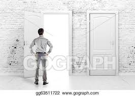 open front door illustration. Modren Door Young Business Man In Front Of An Open Door A Vintage White Brick Wall Throughout Open Front Door Illustration