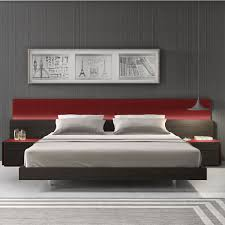 JM Furniture Q Lagos Queen Platform Bed In Red Gloss - Red gloss bedroom furniture