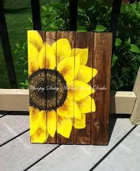Image Wall Hanging Etsy Sunflower Home Decor Sunflower Art Sunflower Wood Sign Etsy