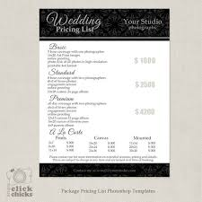 Price List Template Simple Photography Package Pricing List Template Wedding Etsy