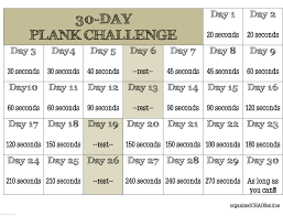 24 Day Challenge Chart 30 Day Plank Challenge Printable Chart Www