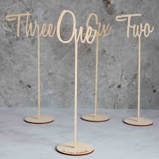 handscript wooden table numbers table decorations
