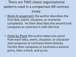 compare contrast essay comparison or contrast essay is an essay  there are two classic organizational patterns used in a comparison or contrast essay block arrangement