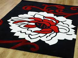 delightful black flooring rug idea with marvelous red and white color design for prepossessing livingwooden floor design