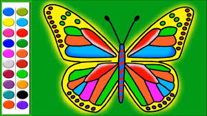 picture of a butterfly to colour. Simple Butterfly Colours For Kids Learn How To Colour And Draw BUTTERFLY Coloring Pages   Video Throughout Picture Of A Butterfly To Colour O