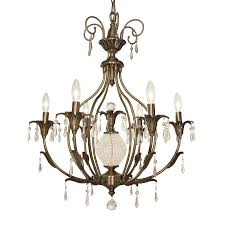 classic lighting sharon 26 in 6 light antique brass vintage candle chandelier