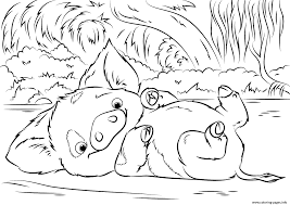 Disney Coloring Page Pua Pet Pig From Moana Pages Printable 1500