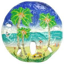 tropical beach palm tree sand dollar haitian metal wall decor tropical outdoor wall art by mary b decorative art