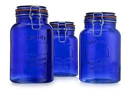american reions glass canister quality set of 3 blue round jar with hermetic seal bail trigger airtight lock for kitchen food storage containers