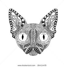 Small Picture Zentangle stylized Cat Face tribal animal totem for adult anti
