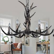 6 light rustic artistic retro antler black vintage chandelier for living room dining room