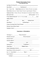 patient information form fillable online patient information form insurance information