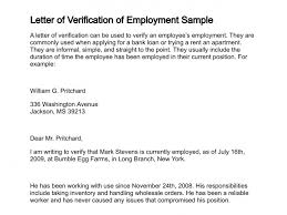 sample letter employee letter of verification