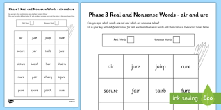 See our extensive collection of esl phonics materials for all levels, including word lists, sentences, reading passages, activities, and worksheets! Phase 3 Air And Ure Color By Phoneme Real And Nonsense Words Worksheet