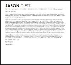 Document Control Specialist Cover Letter Sarahepps Com