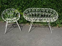 wrought iron garden furniture. G174 - Vintage French 1960\u0027s Wrought Iron Garden Chair And Bench Set La Belle Étoffe Furniture T