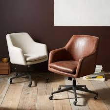 Office wooden chair Comfortable West Elm Helvetica Leather Office Chair West Elm