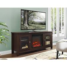 wood media tv stand console electric fireplace in traditional brown