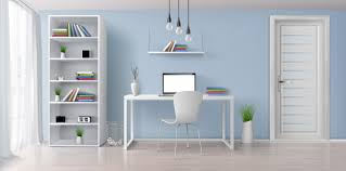 Home Office Sunny Room With Simple White Furniture 3d