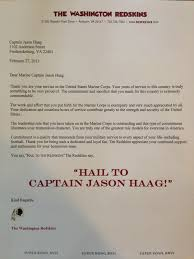 Washington Redskins Hail Marine Captain On Retirement