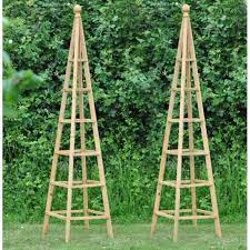 set of 2 wooden garden obelisks 1 9m