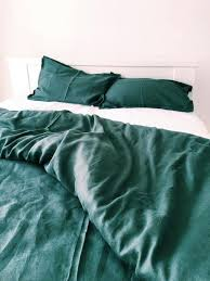 forest green duvet cover queen linen bedding set linen duvet cover and 2 pillow cases dark