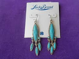 lucky brand nwt gold tone big turquoise chandelier drop earrings