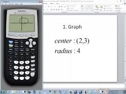 technology in college algebra graphing circles given center and radius ti 84 plus you