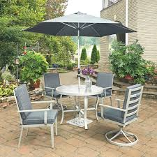 south beach grey 7 piece round extruded aluminum outdoor dining set with
