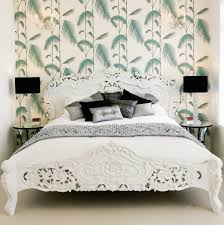 white furniture bedrooms. Floral Wallpaper In A White Furniture Bedroom Bedrooms E