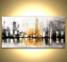 hand painted wall art painting abstract skysers contemporary oil painting canvas living room artwork cool features 2017