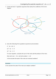 solving quadratic equations homerun worksheet kidz activities