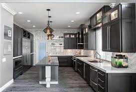dark kitchen cabinets. Grey Hardwood Floors Ideas Modern Kitchen Interior Design Dark Cabinets White Countertops
