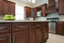st charles kitchen cabinets: adorable rta kitchen cabinets with dark brown cherry wood finish and brushed nickel cabinet hardware