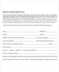 Employee Incident Report Template Fascinating Behavior Incident Report Sample Tomburmoorddinerco