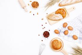 Homemade Breads Or Bun Croissant And Bakery Ingredients On White