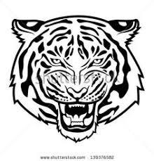 tiger face clipart black and white. Interesting Black Tigerfaceclipartblackandwhitestockvector Intended Tiger Face Clipart Black And White C