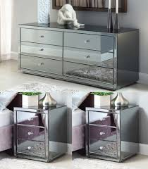 smoked mirrored furniture. Vegas SMOKE Mirrored Bedside Tables And Chest Package - Mirror Furniture Smoked S