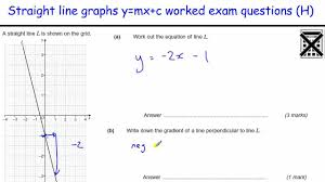 how to do straight line graphs worked examples gcse maths revision worked exam questions y mx c