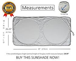 Sunshade Size Chart Windshield Sun Shade Exact Fit Size Chart For Cars Suv Trucks Minivans Sunshades Keeps Your Vehicle Cool Heat Shield Medium
