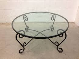 wrought iron glass top coffee table tables thippo round my with legs 158897318 36 diameter oval side wood black a