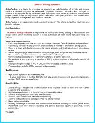 Resume Billing Resume Examples Specialist Cover Letter